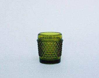 Olive Green Glass Hobnail Votive - Candle Holder