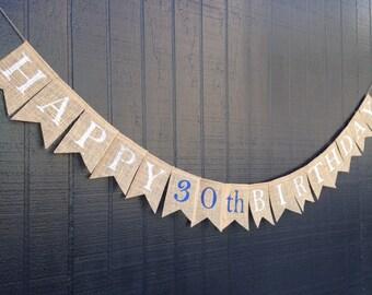 HAPPY BIRTHDAY Burlap Banner, Happy Birthday Bunting, Birthday Garland, Burlap Banner, Birthday Party Decoration