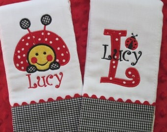 LADYBUG Personalized Baby Girl Burp Cloths