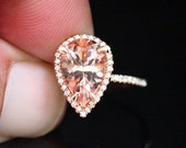 14k Rose Gold 12x8mm Morganite Pear and Diamonds Wedding or Engagement Ring (Choose color and size options at checkout)