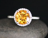 Single Halo 14k White Gold 9mm Sunshine Citrine Round and Diamonds Wedding or Engagement Ring (Choose color and size options at checkout)