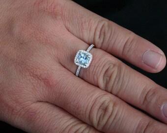 Natural Aquamarine Diamond Halo Ring in 14k White Gold with Aquamarine Cushion 6mm and Diamonds