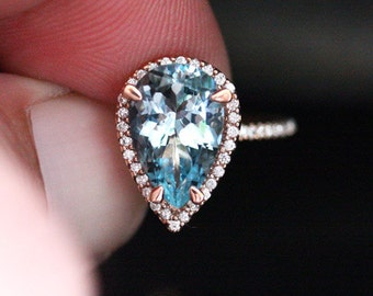 Exceptional Aquamarine Ring Diamond Ring 14k Rose Gold Aquamarine Pear 12x8mm and Diamonds (Also Available in 18k Gold)