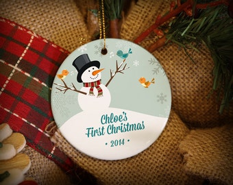 Customizable Christmas Ornament: Happy Snowman with Birds