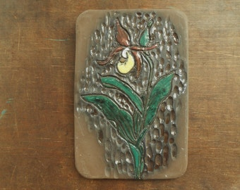 Vintage Swedish Ceramic wall plaque by Elmi Brown green yellow wall picture Ceramic floral wall hanging