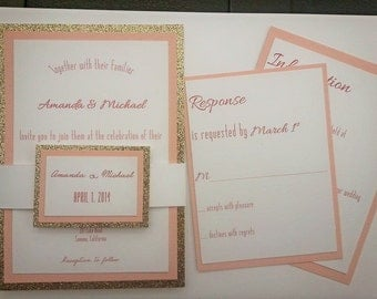 PInk Champagne Wedding Invitation Suite