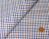 3-7/8 yd Gingham Plaid Check Woven Fabric, Houndstooth Navy White and Rust Gingham Yardage, Material