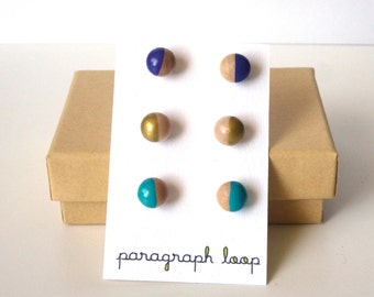 Purple, gold and turquoise earring set, peacock colors, little studs, colorful earrings, neutral earrings, gift for her