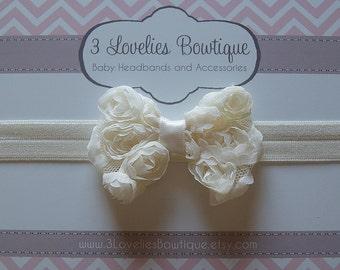 Newborn Headband..Baby Girl Headband..Cream Bow Headband..Baby Headband..Toddler Headband..Infant Headband