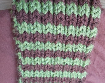 Green And Brown Chunky Scarf.