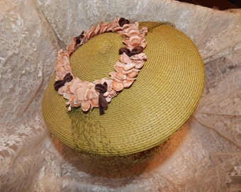 Ladies Green Hat with Pink Velvet Flowers,  Rhinestones,Green Netting, and Side Headband /Prongs