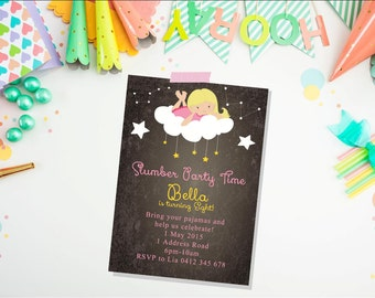 Slumber Party Birthday Invitation. Sleepover Invitation. Birthday party. Invitation