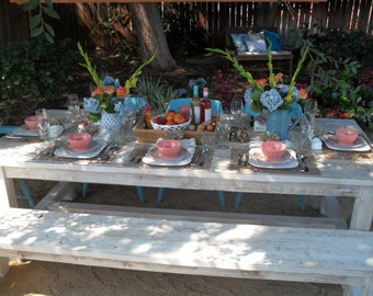 Dining Table and Bench custom made from reclaimed wood in the USA