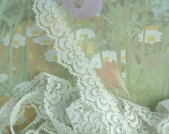 3yds White Elastic Lace Trim Stretch Scolloped edging 5/8 inch Picot Elastic Stretch Lace Headband Single Edge Elastic by the yard RLzz