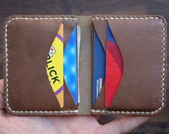 6 Pocket Horizontal wallet, hand stitched, Horween leather - natural chromexcel