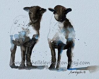 baby girl nursery art PRINT nursery girl nursery decor girl Sheep watercolor painting of lamb animal painting twin small 5x5