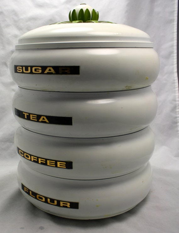 Vintage round stackable flour sugar coffee by luckysevenvintage - Tea coffee sugar stacking canisters ...