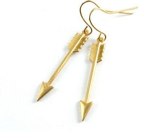 Golden Arrow Earrings, Arrow Earrings, Shooting Arrow Drop Earrings