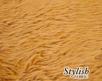 Dark Mustard Pile Luxury Shag Faux Fur Fabric by the yard for costume, throws, home furnishing, photo props - 1 Yard Style 5009