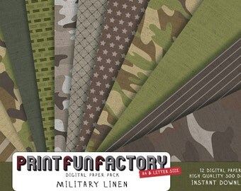 Military Linen digital paper - army camouflage pattern fabric - 12 digital papers (#086) INSTANT DOWNLOAD