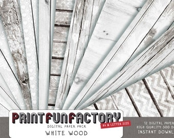White wood digital paper - white wash pattern distressed wood wedding paper - 12 digital papers (#104) INSTANT DOWNLOAD