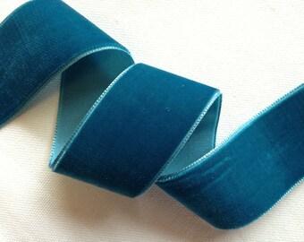 Teal blue velvet ribbons, multiple widths, 2 yard increments