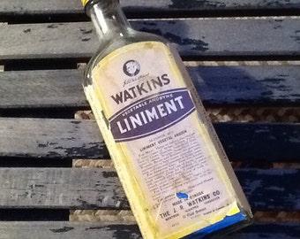 Vintage Watkins Liniment Bottle with Cap, Apothecary bottle