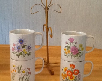 Vintage Mug Tree and Cups Set, Metal Cup Holder with Cups, Vintage Floral Mugs