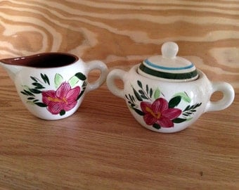 Stangl Country Garden creamer and sugar set