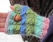 Hand Knit Wool Fingerless Mitts, Pastel Pretty Cabled Mitts