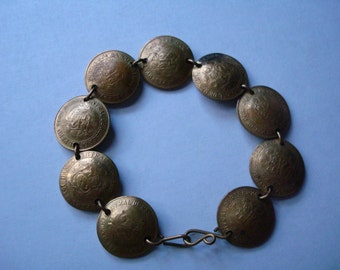 Vintage Real Peru Coins  Bracelet