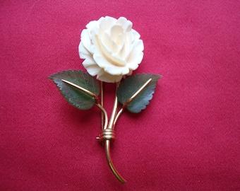 Vintage Carl Art Gold Filled Carved Rose Brooch Pin