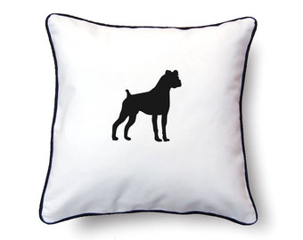 Boxer Pillow 18x18 - Floppy Ears - Boxer Silhouette Pillow - Personalized Name or Text Optional