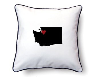 Washington Pillow - 18x18 - Washington Map - Personalized Name or Text Optional - Wedding - Housewarming Gifts