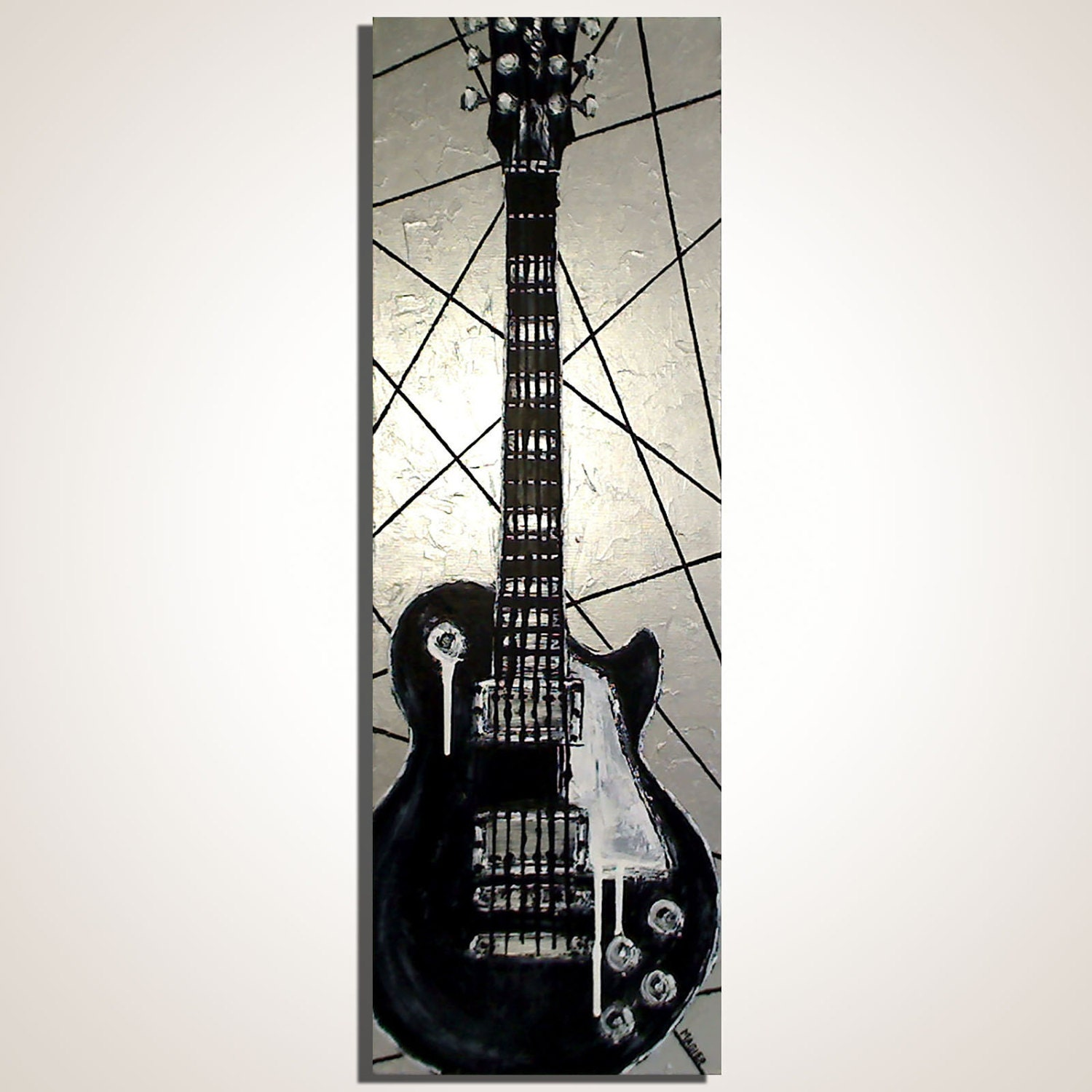 Electric guitar painting Rock music art Gift for musician