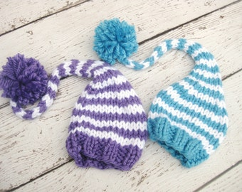 Purple Or Blue and White Gnome Elf Baby Hat Size Newborn  Knitted Baby Hat  Photo Prop Twins