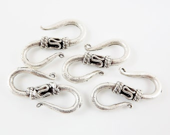 4 Medium S Shaped Hook Clasps - Matte Silver Plated