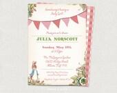 Peter Rabbit Beatrix Potter Baby Shower/Birthday Invitation DIY printable - (pink)