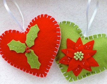 Holly and Poinsettia pair of padded felt heart ornaments in red and green