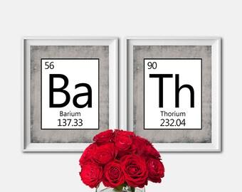 Set of 2 - PRINTABLE Bathroom Art - Periodic Table - Science Art - Nerd Art - BATH - Digital Art - Washroom Decor - Housewarming Gift