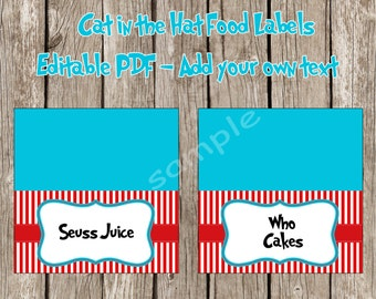 Dr. Seuss Cat in the Hat Food Labels Tent Cards *Add Your Own Text* - Cat in the Hat Birthday Party - DIY Printable - Instant Download