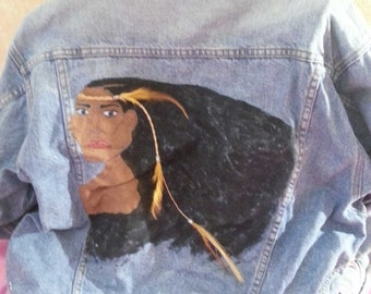 Beautiful Handpainted Native American Denim Jacket (Available By Special Order Only) Party Club Casual