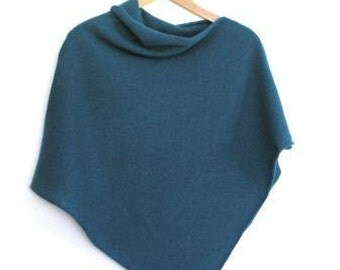 Poncho Soft Merino Lambswool Turquoise
