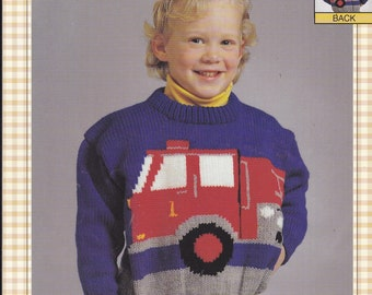 Pattern - Bernat Knitting Graph Pattern - THE FIRE ENGINE - Pullover Knitted Sweater - Worsted Weight Size Childrens 2 - 8 Large Graph/Print