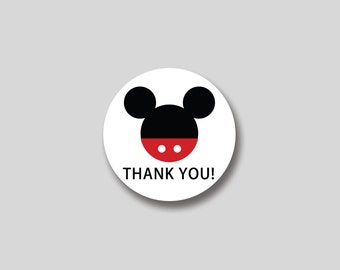 INSTANT DOWNLOAD Mickey Mouse favor tag, cupcake topper, sticker -  DIY Printable
