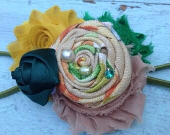 Hunter Green, Orange, Yellow, Rosette Fabric Flower Headband, Orange Hair Accessories, Fabric Flower Hair Clip, Flower Brooch, Women's