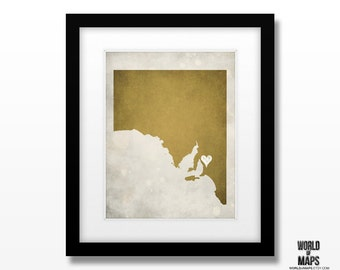 Australia - South Australia Map Print - Home Town Love - Personalized Art Print