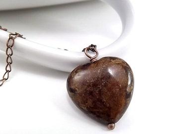 Antique Copper Necklace - Bronzite Heart