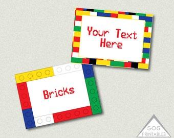 Building Block Labels, Building Block Party, Boys birthday party, printable labels, building bricks, building brick labels, editable labels