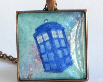 TARDIS - Doctor Who - Original - Hand Painted - Watercolor Art - Pendant Necklace - Jewelry